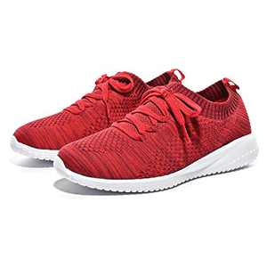 Breifola Women's Slip-On Walking Shoes Running Tennis Mesh-Comfortable Lightweight Sneakers 004-9-10 Deep Red