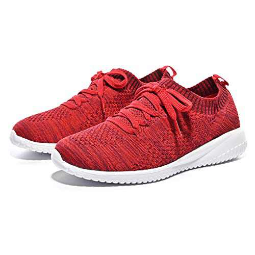 Breifola Women's Slip-On Walking Shoes Running Tennis Mesh-Comfortable Lightweight Sneakers 004-9-8.5 Deep Red