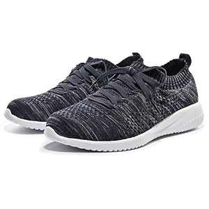 Breifola Women's Slip-On Walking Shoes Running Tennis Mesh-Comfortable Lightweight Sneakers 004-11-7 Navy/Grey