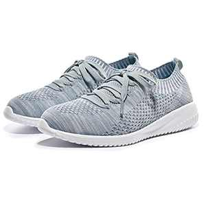 Breifola Women's Slip-On Walking Shoes Running Tennis Mesh-Comfortable Lightweight Sneakers 004-12-9 Grey/Green