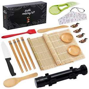pentaQ Sushi Making Kit, 20 Pieces Sushi Bazooka Maker Set for beginner, DIY Sushi Roller Machine with Natural Bamboo Rolling Mat, Sushi Knife, Bamboo Chopsticks, Sauce Dish, Bazooka-Black