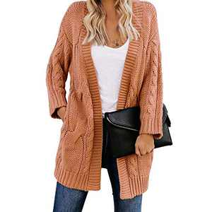 Exlura Women's Long Sleeve Open Front Cable Knit Cardigan Sweaters with Pockets Camel