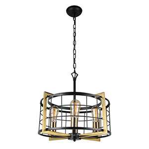 Bizinlumin Luxury Round Gold Pendant Lighting, Modern Black Dining Room Chandelier Light Fixture Industrial Metal Cage Living Room Entry Bedroom Drum Light 4 Lights Edison E26 BY19002G