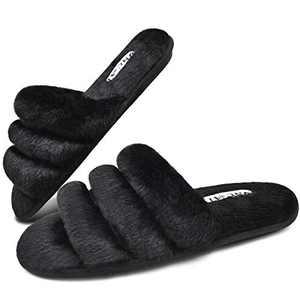 ONCAI Slides-for-Women-Fuzzy-Women's-Fluffy-House-Slippers Slip-on Soft Faux Fur Slippers for Women Open Toe Plush Furry Flat Memory Foam Anti-Slip Cute Slide Slippers Black
