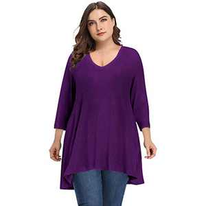 Women's Plus Size Long Sleeve Tunic Tops V Neck Casual Shirts Loose Flowy Blouse for Leggings(Purple,2XL)