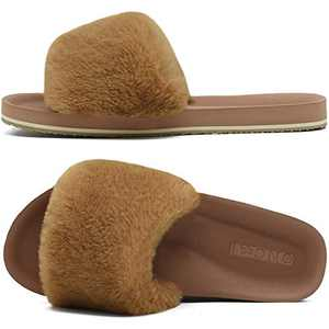 ONCAI Slides-for-Women-Fluffy-Furry-Women's-House-Slipper Slip-on Faux Fur Sandals Slipper Flat Fuzzy Cozy Anti-Slip Open Toe Slippers Light Brown