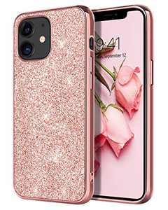 YINLAI Compatible with iPhone 12 Mini Case Glitter Shiny Sparkly Slim Shockproof Hybrid Covers Drop Protection Girly Women Anti-Slip Phone Case for iPhone 12 Mini 5.4 inch,Rose Gold/Pink