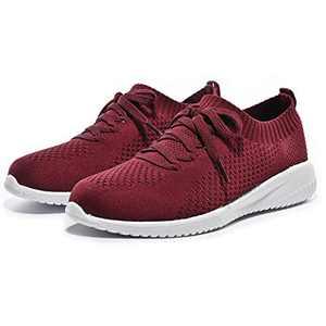 Breifola Women's Slip-On Walking Shoes Running Tennis Mesh-Comfortable Lightweight Sneakers 004-7-8 Wine Red