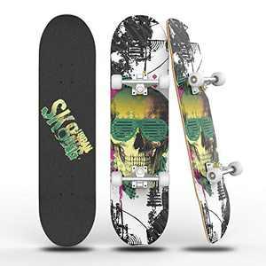 "PHNHOLUN Skateboards 31"" Complete Skateboard: Double Kick Skate Board 8 Layer Maple Skateboard for Teens Adults Beginners Girls Boys Kids (01)"