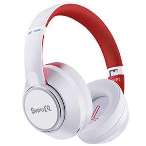 Hybrid Active Noise Cancelling Headphones-SuperEQ S1 Bluetooth 5.0 Over Ear Wireless Wired Headset with Ambient Mode, 45H Playtime, Hi-Fi Deep Bass, Memory Foam Earpads for Travel Home Office (White)