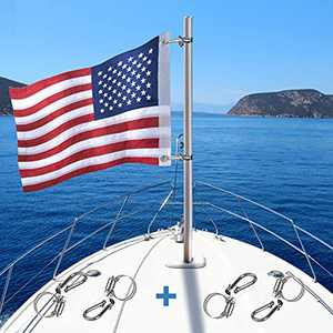 American Boat Flag Marine Flag with 4 Boat Flag Pole Kits, Double Sided Embroidered Stars USA American Flag for Boat with 2 Brass Grommets (12x18 inch)