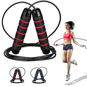 Heavy Jump Rope Adjustable Length Weighted Jump Ropes for Kids Women Adult Fitness Exercise Workout Crossfit with non-slip hand mat Long Jumping Ropes Black Red