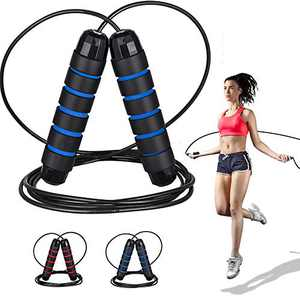 Heavy Jump Rope Adjustable Length Weighted Jump Ropes for Kids Women Adult Fitness Exercise Workout Crossfit with non-slip hand mat Long Jumping Ropes Black Blue