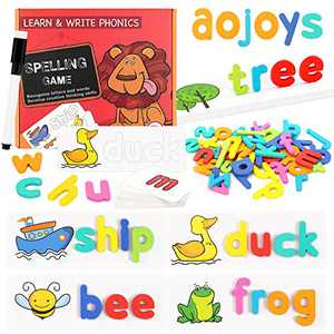 Matching Letter Game - See and Spell Learning Toys Sight Words Games Wooden Letters Jigsaw Puzzles Alphabet Words Flash Cards Educational Toys Gift for Toddlers Age 3+ Years - Best Xmas Gifts