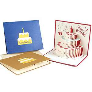Birthday Cards, gift cards, YIWINIAID 3D Pop Up Birthday Cake Carved Greeting Cards with Envelopes DIY Blessing Cards Birthday Gift for Family, Teacher, Friends, Kids,3 Pack-Red,Blue,Yellow (Happy Birthday)