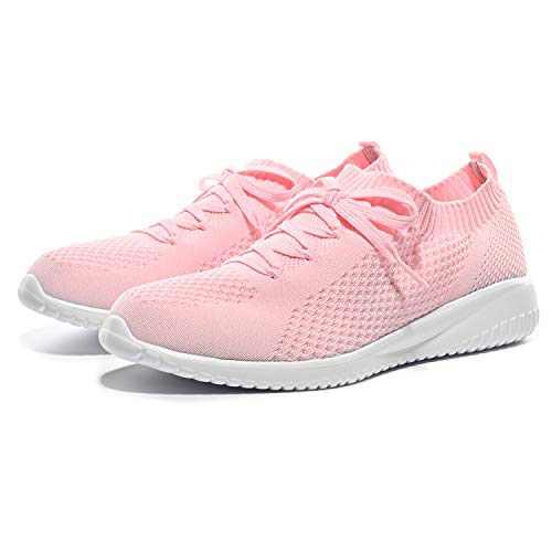 Breifola Women's Slip-On Walking Shoes Running Tennis Mesh-Comfortable Lightweight Sneakers 004-5-9.5 Pink