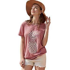 Pebeo Shirts Women Short Sleeves Summer Tee Shirts (Medium, Pink)