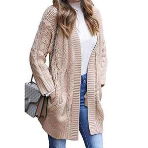 Exlura Women's Long Sleeve Open Front Cable Knit Cardigan Sweaters with Pockets Apricot