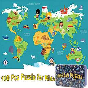 NEILDEN Puzzles for Kids in a Metal Box 100 Piece Jigsaw Puzzle for Kids Ages 4-8 Puzzles for Girls and Boys Great Gifts for Children (World map)