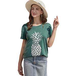 Pebeo Shirts Women Short Sleeves Summer Tee Shirts (Medium, Green)