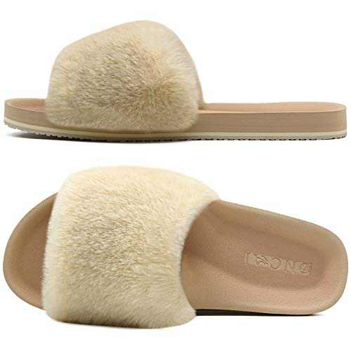 ONCAI Slides-for-Women-Fluffy-Furry-Women's-House-Slipper Slip-on Faux Fur Sandals Slipper Flat Fuzzy Cozy Anti-Slip Open Toe Slippers Beige