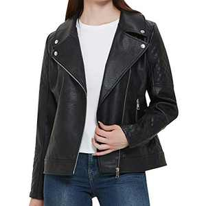 Women's Black Faux Leather Jacket, Moto Biker Short Coat Jacket for Women, Motorcycle leather coats for women
