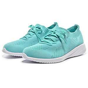 Breifola Women's Slip-On Walking Shoes Running Tennis Mesh-Comfortable Lightweight Sneakers 004-6-8 Green
