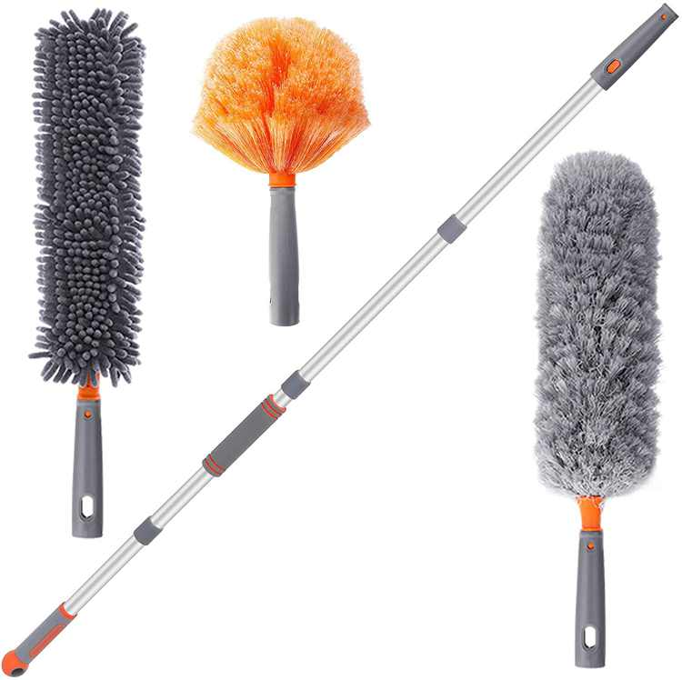 Baban Microfiber Duster for Cleaning with Extension Pole, Cobweb Duster Bendable Washable Feather Dusters for Keyboard,Ceiling Fan Duster for Cleaning High Ceiling, Keyboard, Furniture,Cobweb