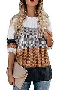 Chigant Women's Oversized Loose Knitted Crew Neck Long Sleeve Winter Warm Pullover Sweater Tops