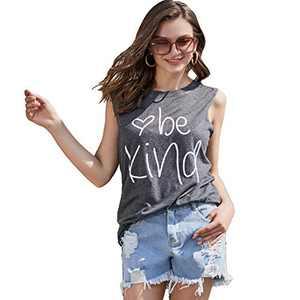 Pebeo Shirts Tank Tops Women Sleeveless Summer Tank Tops Shirts (X-Large) Grey