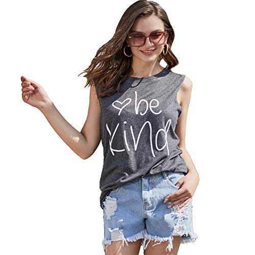 Pebeo Shirts Tank Tops Women Sleeveless Summer Tank Tops Shirts (Large) Grey