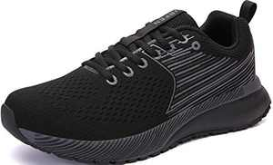 UBFEN Mens Womens Sports Running Shoes Jogging Walking Fitness Athletic Trainers Fashion Sneakers 12.5 Women/11 Men E Black Grey