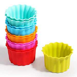 Kayaso Reusable Silicone Baking Cups, None-Stick Cupcake Muffin liners, Mini Cake Mold, BPA free, Fluted Round Mold, 12 pack, Assorted Colors, Standard Size.