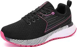 UBFEN Womens Sports Running Shoes Jogging Walking Fitness Athletic Trainers Fashion Sneakers Skateboarding 6 Women/5.5 Men Black Pink