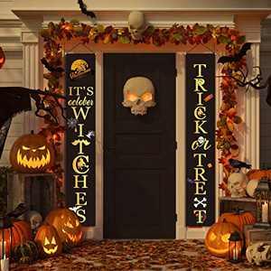 Anjuke Halloween Decorations - Happy Halloween Outdoor Indoor Banner Porch Sign Hanging Decor Classic Elements for Front Door Gate Garden Home Party