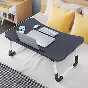 PLENTOP Foldable Laptop Table, Portable Standing Bed Desk Multifunction Lap Tablet Perfect for Eating Breakfast, Reading Book, Working (Black)