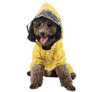 Coomour Dog Raincoats Pet Adjustable Dinosaur Rain Pomcho Cute Waterproof Hoodies for Small Medium Large Cats Dogs (M)