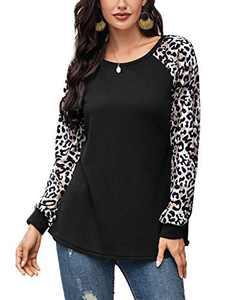 Women Leopard Print T-Shirt Casual Long Sleeve Waffle Knit Tunics Pullover Tops Black