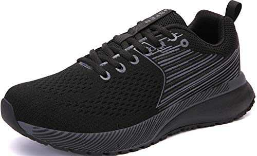 UBFEN Mens Womens Sports Running Shoes Jogging Walking Fitness Athletic Trainers Fashion Sneakers 10.5 Women/8.5 Men E Black Grey