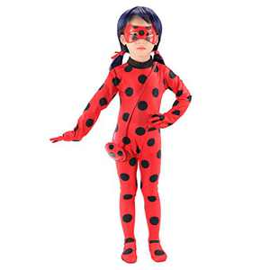 SPUNIQUE Kids Spandex Cosplay Jumpsuit Halloween Little Beetle Suit with Wig,Bag,Eyemask Large(8-10)