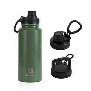 HUMIGO Insulated Water Bottle, 30oz BPA Free Stainless Steel Water Bottle, Sports Water Bottle with Double Walled, 2 Lids Wide Mouth Flask Water Bottle for Camping/Outdoor, 1033-900GR
