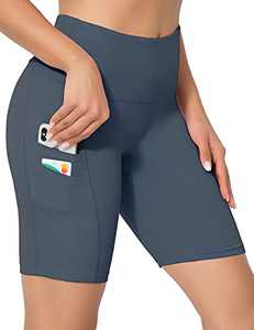 ZIIIIIZ High Waist Tummy Control Workout Biker Running Yoga Shorts with Pockets for Women(GrayBlue,S)