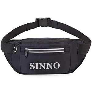 SINNO Large Fanny Pack With 4-Zipper Pockets for Running Hiking Travel Workout Dog Walking Outdoors Sport Fishing Waist Pack Bag (BLack)