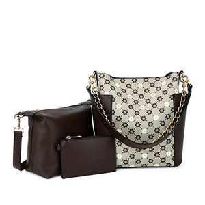 Women Fashion Handbags Tote Bag Shoulder Bag Top Handle Satchel Purse Set 5pcs (K.EYRE#2061#K122#2121L.PINK) (KL7193F#D#3A/Y678# APRICOT/COFFEE)