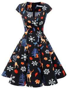 Bbonlinedress Women Short 1950s Retro Vintage Cocktail Party Swing Dresses Black Deer 3XL