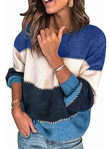 AROGONE Womens Soft Comfy Crew Neck Pullover Sweater Long Sleeve Color Block Lightweight Loose Knit Tunic Tops Small Blue