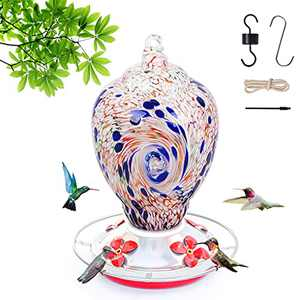 Hummingbird Feeders for Outdoors, 28 Ounces Nectar Capacity Humming Bird Feeder for Outside Hanging Include Ant Moat and Hook, Hand Blown Glass with Upgraded Round Stand and 4 Feeding Ports