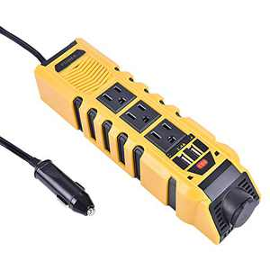 150W Power Inverter 110V 60Hz,12V DC to 110V AC Converter with Dual 2.4A USB Sockets and 3 AC Sockets,Flame Retardant ABS Material Car Charger for IPads,Phones, Electric Fans