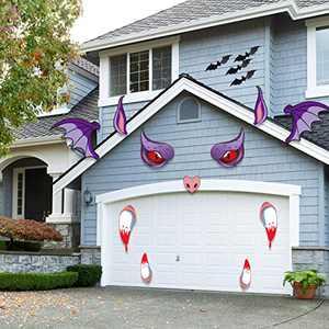 None Branded Halloween Monster Stickers Face Decorations - Halloween Garage Archway Door Window Car Halloween Decoration