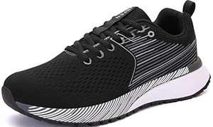 UBFEN Mens Womens Sports Running Shoes Jogging Walking Fitness Athletic Trainers Fashion Sneakers 11.5 Women/10 Men E Black White